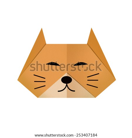 origami paper a cat (face) - stock photo