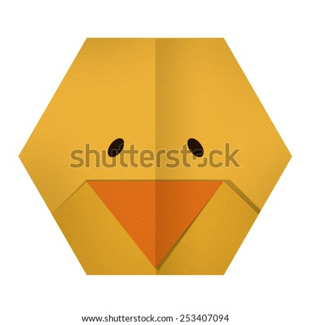 origami paper a chicken (face) - stock photo