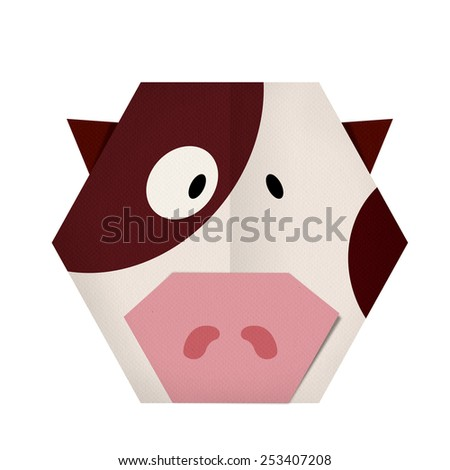 origami paper a cow (face) - stock photo