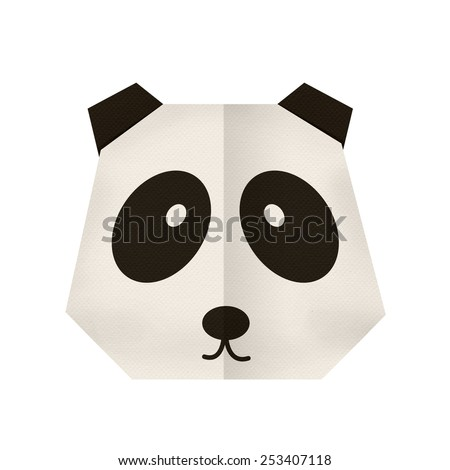 origami paper a panda (face) - stock photo