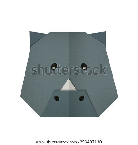 origami paper a rhino(face) - stock photo