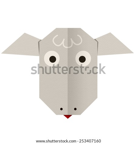 origami paper a sheep (face) - stock photo