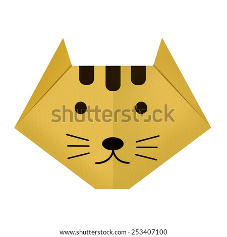 origami paper a tiger (face) - stock photo