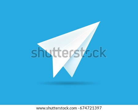 Origami Paper Airplane on Blue Background Raster Illustration can be used as Logo or Icon