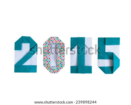 Origami paper craft number 2015 isolated on white background for Merry Christmas and Happy New Year 2015 - stock photo