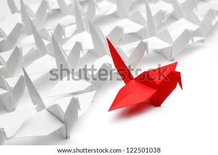 Origami,paper crane on white background. - stock photo