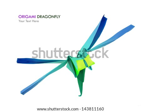 Origami paper dragonfly on a white background - stock photo