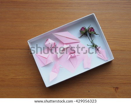 Origamipaper Folding Works Box Background Woody Stock Photo Royalty