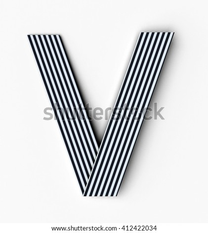 Origami paper font letter V. 3d rendering isolated on white background - stock photo
