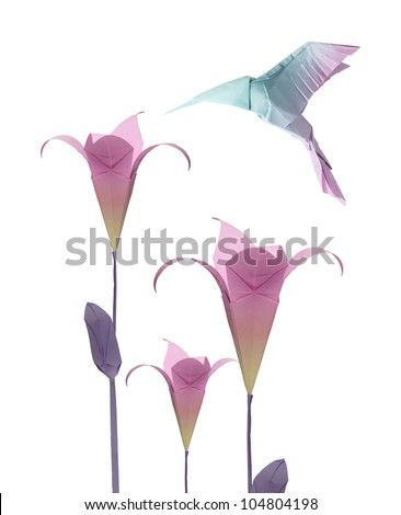 origami paper hummingbird flying around the flowers - stock photo