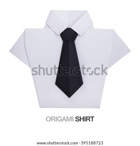 Origami paper men's white shirt with black tie on a white background