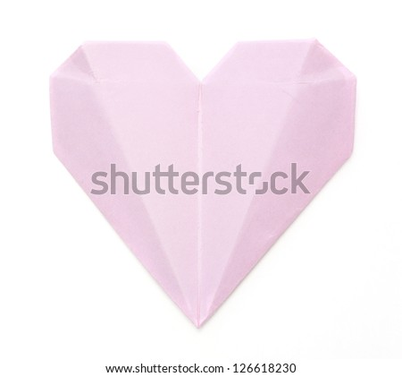 origami paper pink heart on white - stock photo