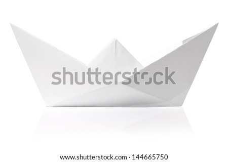 Origami paper ship isolated on white - stock photo