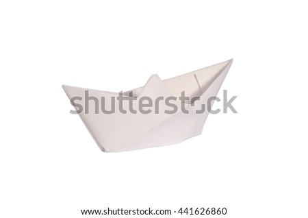 Origami paper ship isolated on white