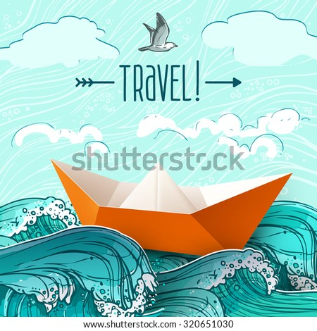 Origami paper ship on hand drawn sea waves  illustration - stock photo