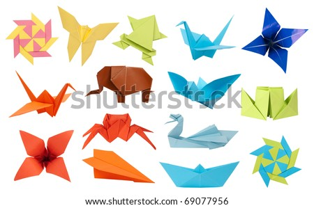 Origami paper toys collection isolated on white background - stock photo