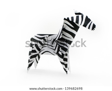 Origami paper zebra - stock photo