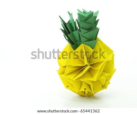 Origami pineapple isolated on white background - stock photo