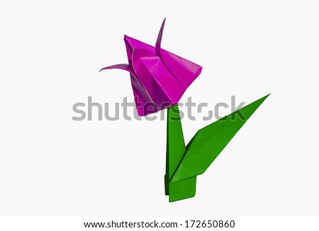 Origami pink flower, tulip, isolated on white