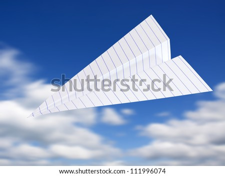 origami planes in blue sky - stock photo