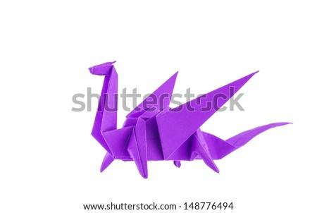 Origami purple dragon isolated on white background - stock photo