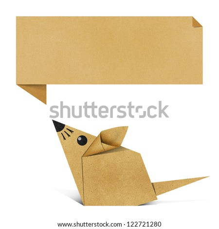 Origami rat recycled paper background - stock photo