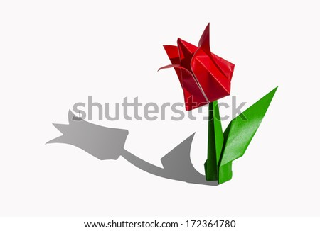 Origami red flower, tulip, isolated on white - stock photo