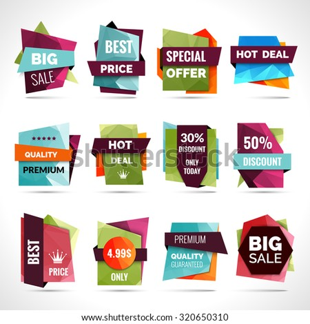 Origami sale hot price paper labels set isolated  illustration - stock photo
