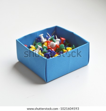Origami Stationery Boxes Filled Push Pins Stock Photo Royalty Free