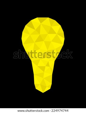Origami style - Polygonal Abstract Design Light Bulb   - stock photo
