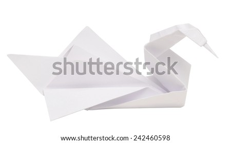 origami swan isolated on white background