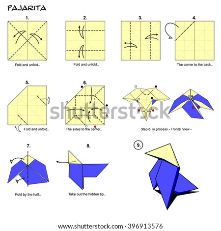 Origami Traditional Bird Spanish Pajarita Diagram Instructions Step By Paper Folding Art
