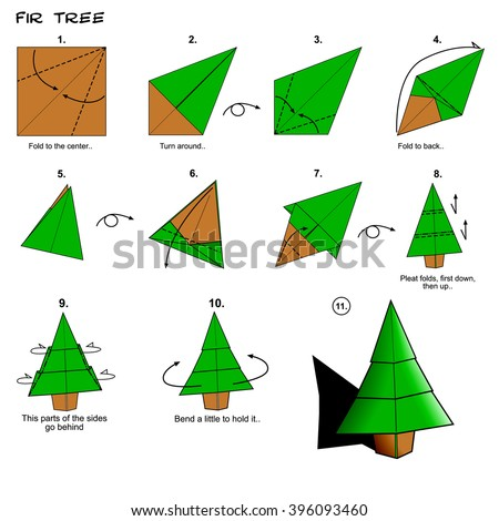 Origami traditional fir tree diagram instructions stock illustration origami traditional fir tree diagram instructions steps paper folding art thecheapjerseys Image collections