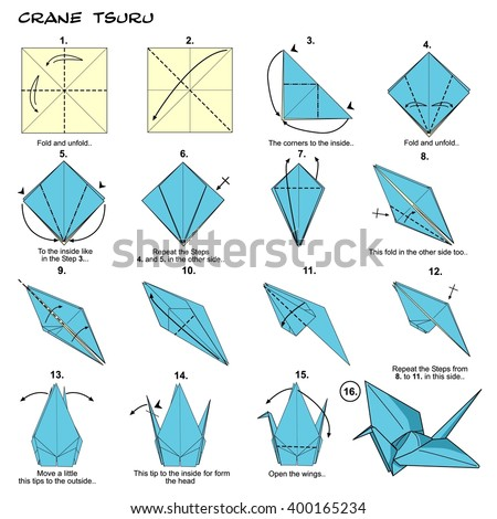 Origami crane stock images royalty free images vectors for Origami swan easy step by step