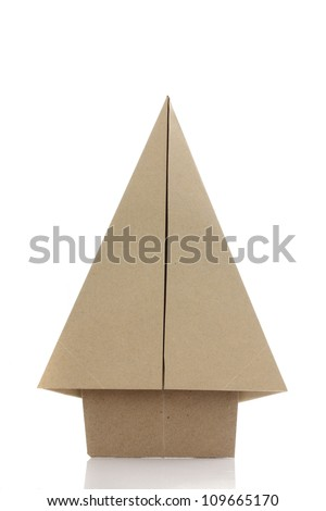 Origami tree by recycle papercraft - stock photo