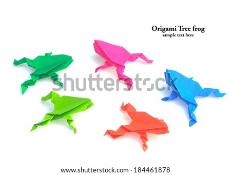 Origami tree frog isolated on the white background - stock photo