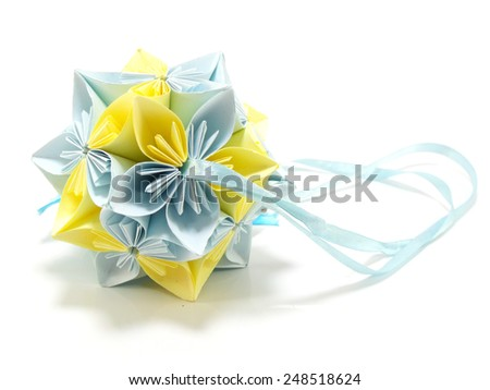 origami unit flowers isolated on white background - stock photo
