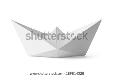 Origami White Paper Boat Isolated on White Background. - stock photo