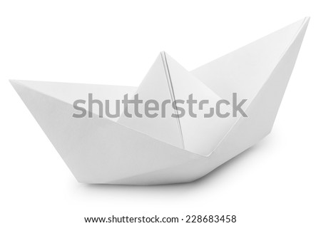 Origami White Paper Boat Isolated on White Background. Clipping Path - stock photo