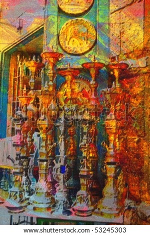 origianl oil painting of egypt cairo market place
