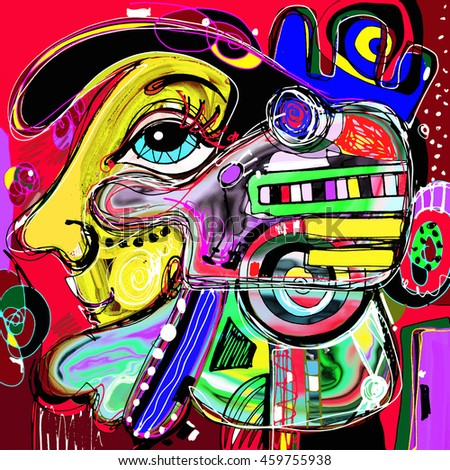 original abstract digital painting of human face, colorful composition in contemporary modern art, perfect for interior design, page decoration, web and other, raster version illustration