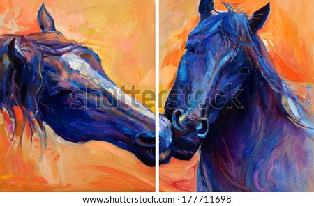 Original abstract oil painting of  beautiful blue horses.Modern Impressionism.Painting is related to year 2014-year of the blue horse - stock photo