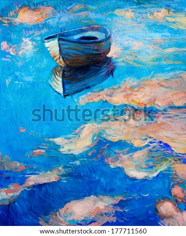 Original abstract oil painting of boat    and sea on canvas.Modern Impressionism - stock photo