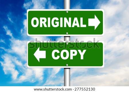Original and Copy Road Sign - stock photo