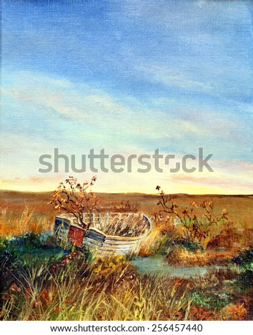 original art, acrylic painting of abandoned boat in marshy field - stock photo