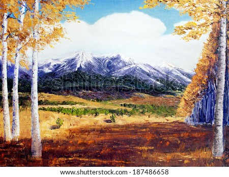 original art, acrylic painting of mountains in fall  - stock photo