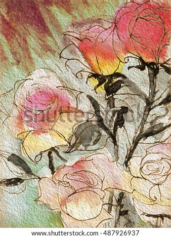 original art, acrylic painting of roses on garden stone