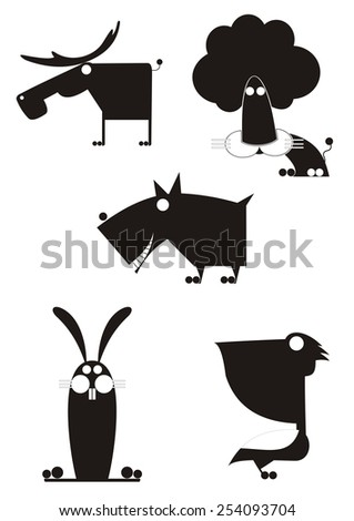 Original art animal silhouettes collection for design  - stock photo