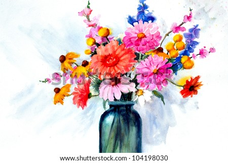 Original art beautiful watercolor painting flowers stock photo original art beautiful watercolor painting of flowers in vase mightylinksfo