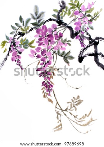 original art Chinese watercolor painting of wisteria - stock photo